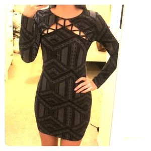 Black and grey printed dress